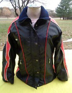 Vintage Yamaha Black/Red Snowmobile Jacket Womens Large Seam Sep