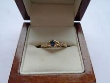 9ct gold ring sapphire & diamonds size M