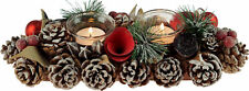 Christmas Red Rose Bauble Table Centre Piece - 2 Candle Holder 30cm Decoration