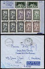 Kambodscha Khmere 1955 Luftpost-Brief Bergheiligtum Thronhalle Frankreich / 31