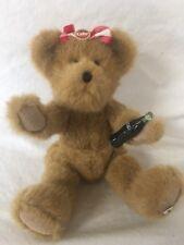 """Boyds Bear COCA COLA Plush Bear Lynette 11"""" w/ Coke Bottle Hair Pin A-AK"""