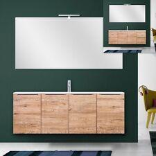 Mobile arredo bagno moderno 140 cm sospeso legno lavabo mineralmarmo specchio|9