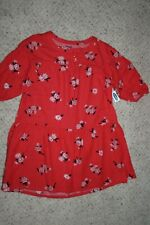 Brand New Old Navy Girls 3/4 Sleeve Red Floral Dress Size L (10-12)
