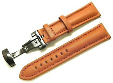 22mm Brown Genuine Leather Watch Strap Black Tone Push Button Deployant Clasp