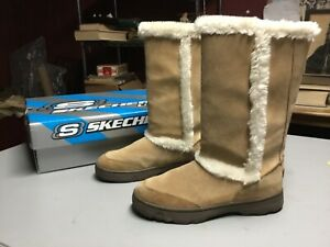 Vintage Skechers Outdoor Chestnut Suede Faux Fur Lined Leather Womens Size 9