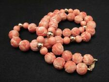 """ANTIQUE CHINESE HANDCARVED NATURAL CORAL BEAD & 14K GOLD NECKLACE 25"""" 106 gms"""