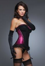Hot Pink/Black Ruffled Bustier w/ Rem Straps COQUETTE
