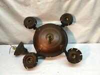 Vintage Art Deco Brass Copper Pan Chandelier 4 arm Hanging Light Parts Repair