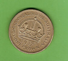 #D310. AUSTRALIAN 1937 STERLING SILVER CROWN, FIVE SHILLING COIN