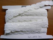 10 Métres ruban élastique ruché  2.4 CM   blanc   FRANCE lot 11
