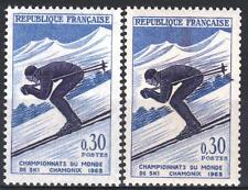 "FRANCE STAMP TIMBRE 1326 "" SKI CHAMONIX 30c VARIETE COULEUR"" NEUF xx SUP M365"