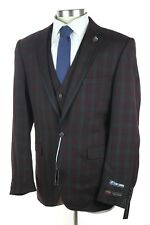 NWT STACY ADAMS Burgundy-Green Windowpane 3 Piece Suit + Vest + Pin 46L Fits 48L