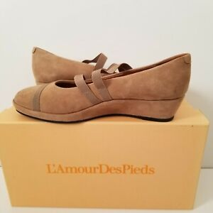 L'Amour Des Pieds Women's Berency Slip On Wedge Heel, Taupe Kid Sued ( 7.5 M )