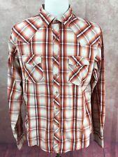 Wrangler Western Pearl Snap Long Sleeve Thick Stitch Orange Plaid Shirt Men's L