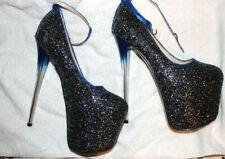blaue Glitzer high heels, Pumps, Gr. 42,5/43, neu, Plateau  8 cm, Absatz 19 cm