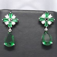 Large 6 Ct Pear Green Emerald Earring Wedding Engagement Birthday Jewelry Gift