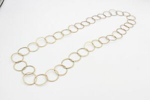 Vintage .925 Sterling Silver NECKLACE w/ Gold Plated, Circles, Modernist (43g)