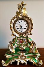 19th Century French Porcelain Mantel Clock & Stand.
