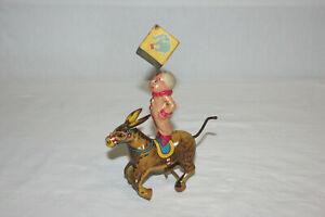 Kuramochi CK Alps Japan Wind Up Tin & Celluloid Circus Clown Riding Donkey Mule