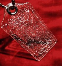 New COACH large acrylic silver sparkle hang key chain fob charm accessory