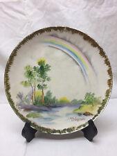 Vintage Rainbow Painting Art Plate Signed T Nagasaki