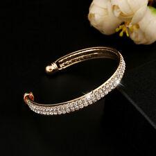 Women Silver Gold Crystal Rhinestone Wristband Bangle Cuff Bracelet Jewelry Gift