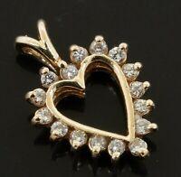 14K gold lovely elegant .25CTW diamond heart pendant