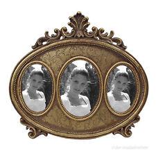 Bilderrahmen Fotorahmen 3 Fotos Bilder Rahmen Oval Gold Deko Holz Antik Barock