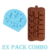 2 Pack Combo Silicone Mold Baby Toys Pacifier candy Ice cube Tray Chocolate Soap