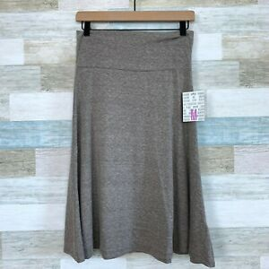 LuLaRoe Azure Skirt Solid Heather Taupe Brown A Line Foldover Womens Medium