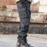 Men Cargo Tactical Pants Black Military Trouser Swat Multi-Pocketed Loose Bomber