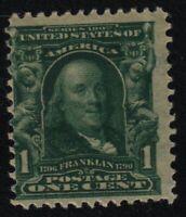 1902 Sc 300 Franklin 1c green MNH OG single CV $30
