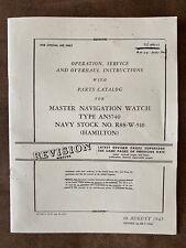 Hamilton Navigation Watch 4992B Service Instruction Parts Catalog An5740
