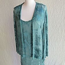 Blue Silk Dress Jacket 16 Matching Embossed Burnout Embellished Dressy Evening