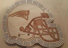 New England Patriots Football Helmet Three Track Cribbage Board