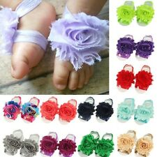 Baby Newborn Infant Barefoot Toddler Foot Flower Band Sandals Socks Photo