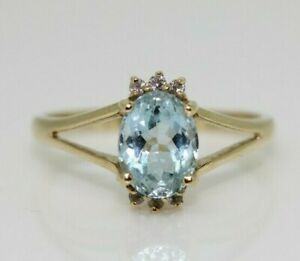 9ct Yellow Gold Blue Topaz and Diamond Cluster Ring Size N, US 6 3/4