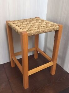 Woven Wicker Stool Seat Rattan Wood H45cm Good Condition.