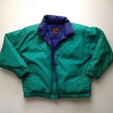 Vtg EDDIE BAUER Goose Down Jacket Womens L XL Teal Bomber Collar Zip Ski 90s 80s