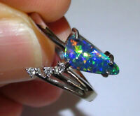 Sparkling Blue Fire Opal White Sapphire Ring 925 Silver Women Engagement Jewelry
