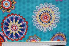 Stoff Baumwolle-Polyester beschichtet, Informal, Blumen, türkis, 140 cm