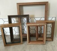 Vintage 5 Wood PICTURE FRAME Lot Recycle Arts Crafts Project Deco geo box deep