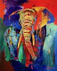 """YUVAL WOLFSON  """"ELEPHANT CHARGE""""  60 X 48 ORIGINAL.  PLEASE  PLEASE MAKE OFFER.."""