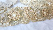 7cm- 1 metre Gorgeous gold embroidered diamante and beaded floral lace trim