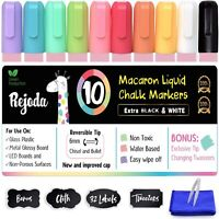 Liquid Chalk Markers Fluorescent Erasable Pens for Glass 10 Pastel Colors Pack