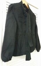 Vintage New Look Black Swing Coat with P Bow
