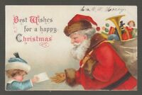 "[31881] 1906 POSTCARD ARTIST SIGNED ELLEN H CLAPSADDLE ""BEST WISHES...CHRISTMAS"""