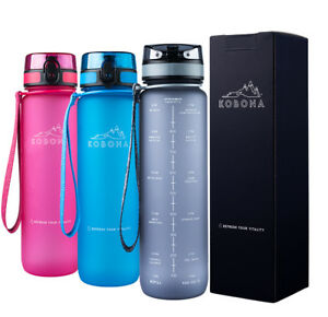 KOBONA 1l Motivational Sport Water Bottle with Time Marker Hydration NEW