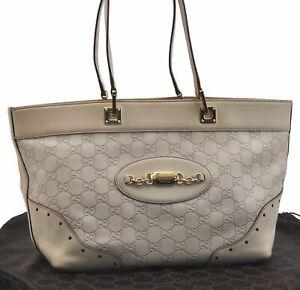Authentic GUCCI Guccissima Leather Tote Bag White B5250