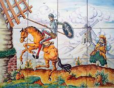"TILES DON QUIXOTE attacking windmills, HANDPAINTED  18x24"" QUIJOTE SANCHO Spain"